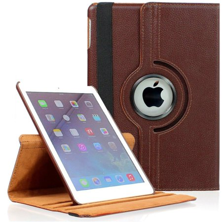 360 Degree Smart Rotating Leather Case for iPad Mini 4 - Brown