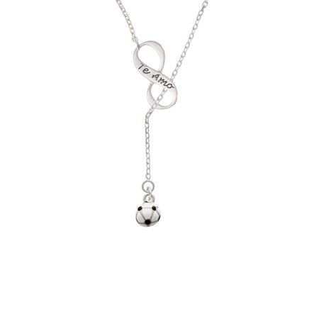 - Mini Enamel Soccer ball Te Amo Infinity Lariat Necklace