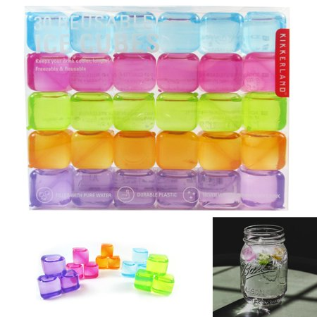 30 Kikkerland Reusable Ice Cubes Square Plastic Cooling Drinks Pure Water Colors - Glow Ice Cube