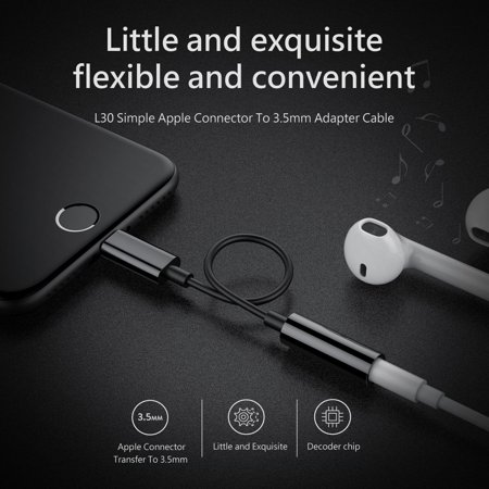 Black Lightning to 3.5mm Headphone Jack Adapter Cable For Apple iPhone 7 & 7Plus