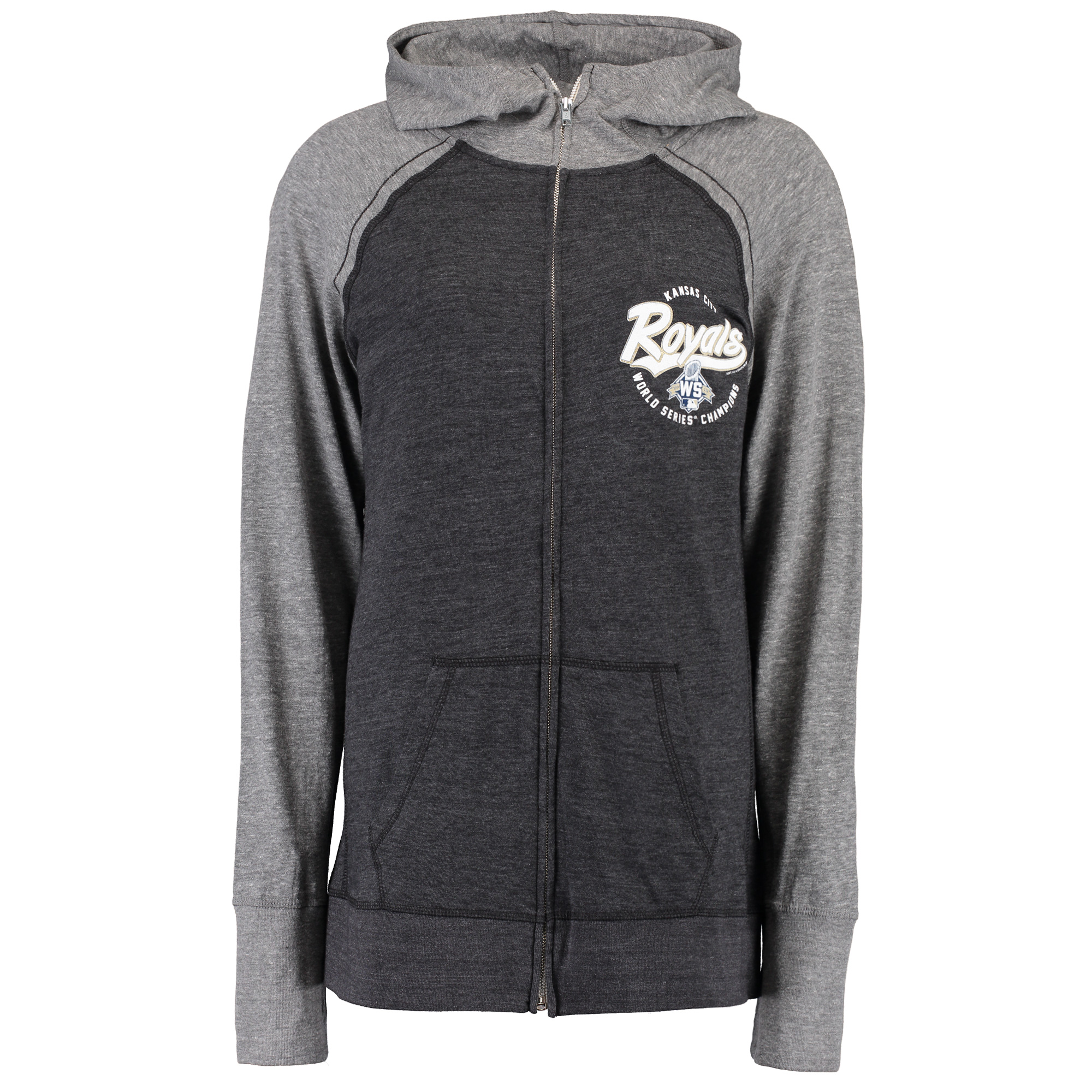 Kansas City Royals Soft as a Grape Women's Plus Size 2015 World Series  Full-Zip Hoodie - Black - Plus 1X