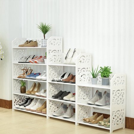 Hilitand Shoe Rack Stand 3/4/5 Tier Shoe Tower Rack Stand Organizer Storage Cabinet Shelves Space Saving White