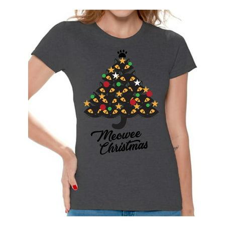 Awkward Styles Ugly Christmas Shirts for Women Xmas Meowee T-Shirt Cat Tree ()