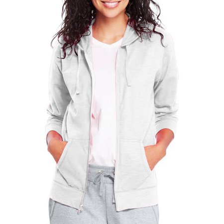 Womens Slub Jersey Cotton Full Zip Hoodie