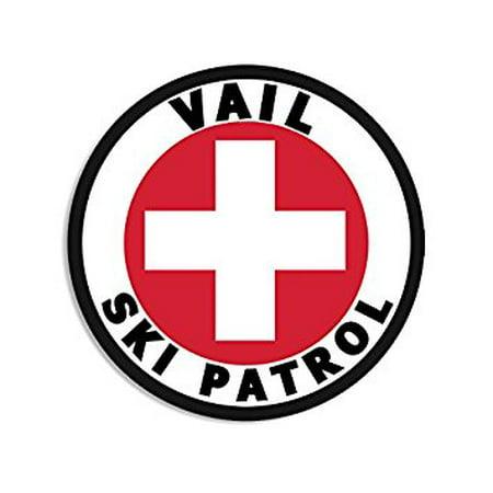- Round VAIL SKI PATROL Sticker Decal (snow snowboard colorado decal) 4 x 4 inch