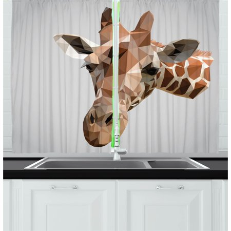 Animal Curtain Set (Animal Curtains 2 Panels Set, African Safari Wildlife Creature Digital Giraffe Modern Triangles Image Artwork, Window Drapes for Living Room Bedroom, 55W X 39L Inches, Brown ang Grey, by Ambesonne )