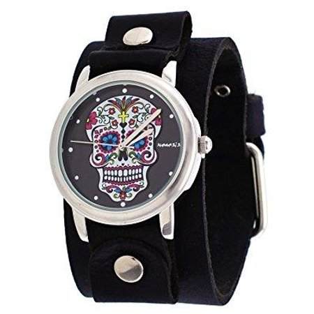 GB925K Women's Rock Collection Sugar Skull Wide Leather Cuff Band Watch