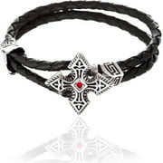 Reinforcements Cubic Zirconia Silver-Tone Cross Loop Leather Bracelet in Stainless Steel