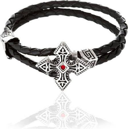 Reinforcements Cubic Zirconia Silver-Tone Cross Loop Leather Bracelet in Stainless Steel