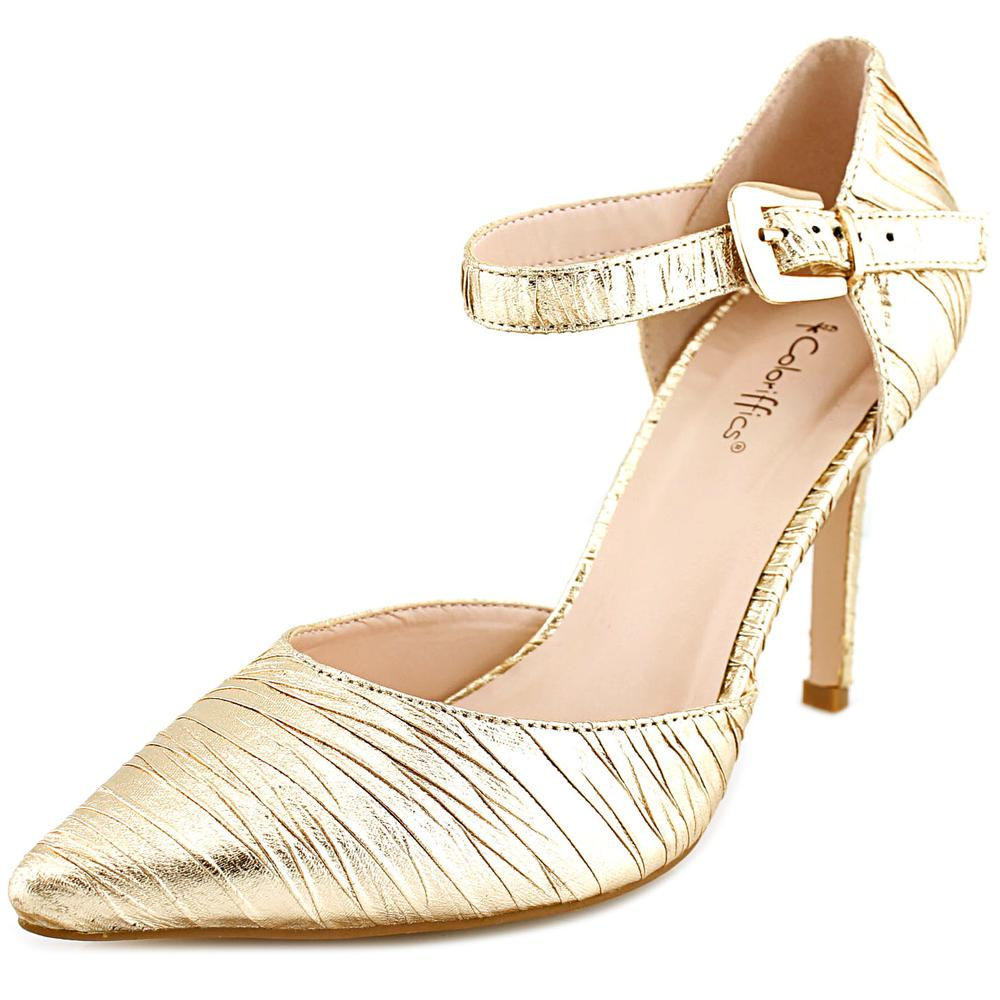 Coloriffics Elana Women  Pointed Toe Synthetic Gold Heels
