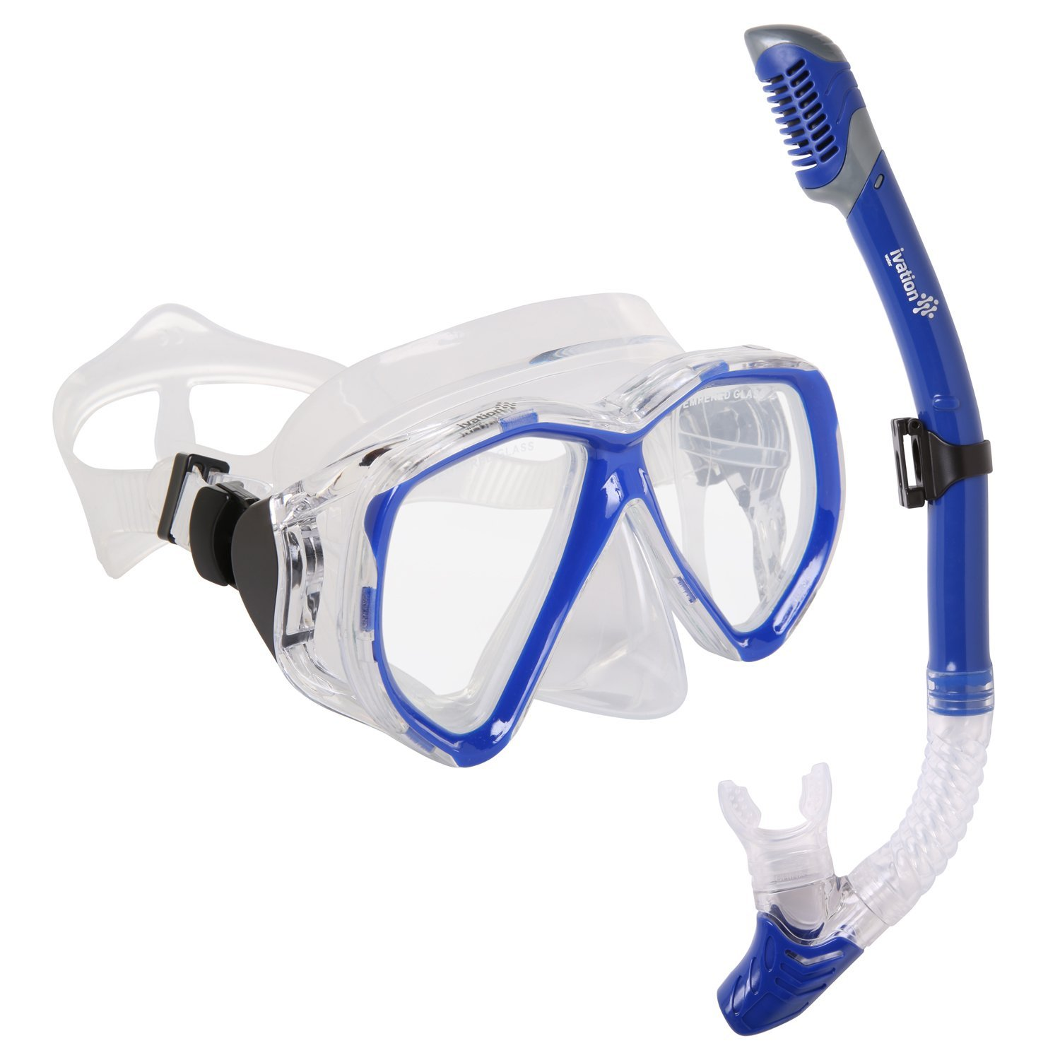 Snorkel Mask Set Adult Snorkeling Gear Double Lens Diving Mask & Snorkel w  Dry Top, Lower Purge Valve by Ivation