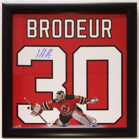 Martin Brodeur Signed Framed New Jersey Devils 20x20 Jersey Photo Steiner by