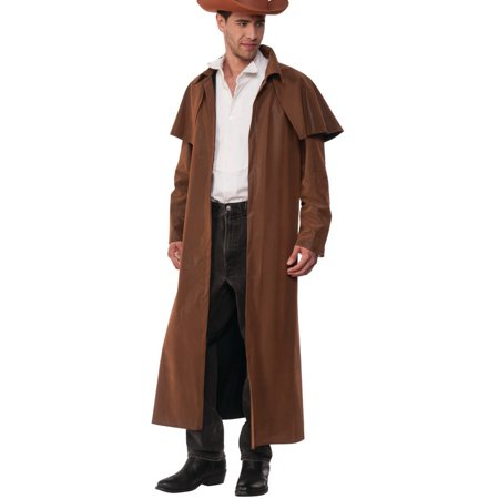 Men's Western Cowboy Range Rider Faux Leather Duster Coat Costume