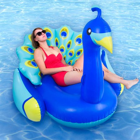 Swimline giant peacock premium bird lounger for swimming for Chicken in swimming pool