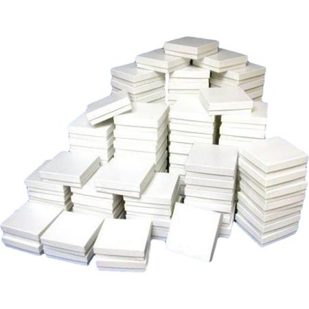 (100 White Watch Bracelet Chain Jewelry Cotton Boxes 3 5/8