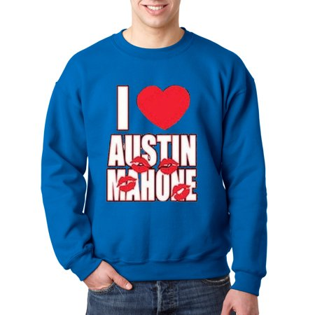 008 - Crewneck I Love Heart Austin Mahone Kisses Lips Sweatshirt