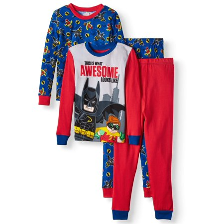 Lego Batman Glow in the Dark Fitted Batman 4 Piece Pajama Sleep Set (Big Boy & Little - Cool Glow In The Dark Stuff
