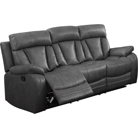 nathaniel home bonded leather sofa with 2 reclining seats in grey. beautiful ideas. Home Design Ideas