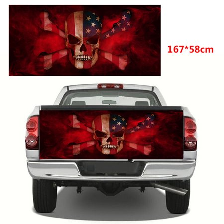 Skull Vinyl Graphic Decal (Sticker American Flag Skull Tailgate Wrap Vinyl Graphics Decal for Truck 167*58cm )