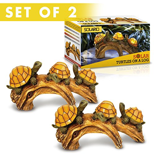 Solar Powered Turtles on Log Decoration- Ultra Durable Polyresin- Highest Capacity... by Solario