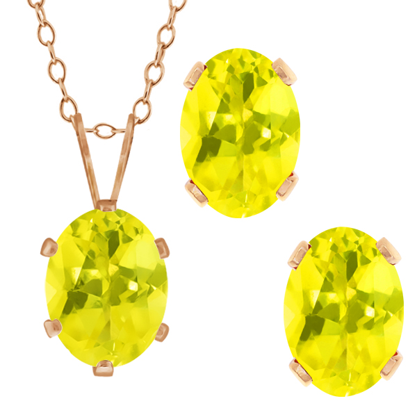 3.50 Ct Oval Canary Mystic Topaz Gold Plated Silver Pendant Earrings Set