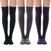Women's Over Knee High Socks, Fashion Cotton Cosplay Thigh High Socks 3 Pack