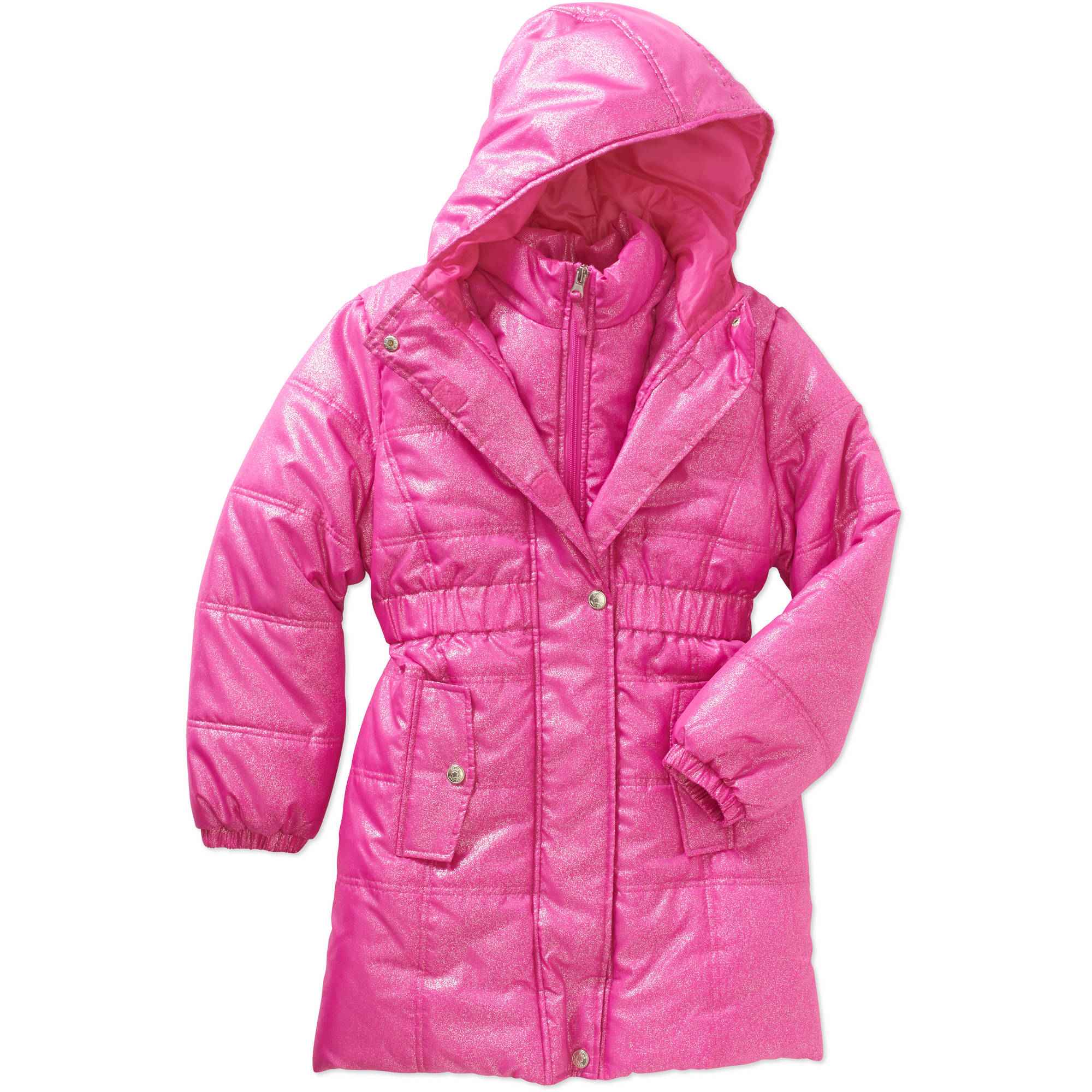 Pink Platinum Girls' Spray Foil Puffer Jacket with Pockets
