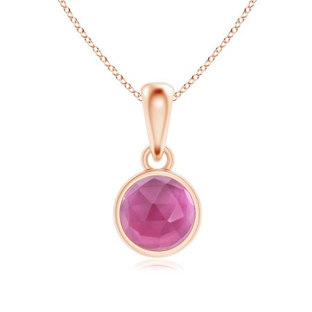 October Birthstone Pendant Necklaces - Bezel Set Pink Tourmaline Solitaire Dangle Pendant in 14K Rose Gold (5mm Pink Tourmaline) - (Bezel Set Solitaire Necklace)