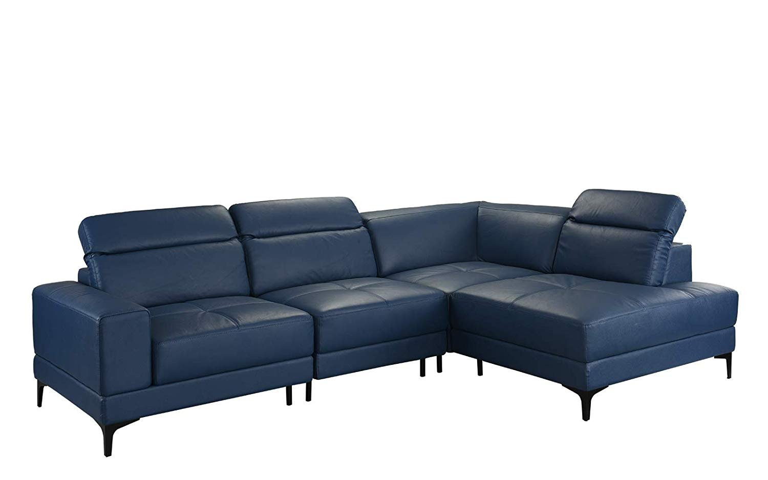 Large Modern Leather Sectional Sofa, Living Room L-Shape Couch (Grey)