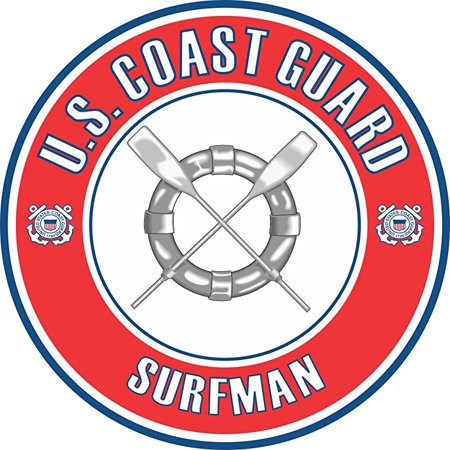US Coast Guard Surfman Badge 5.5 Inch Decal (Coast Guard Station Cape Disappointment Surfman School)