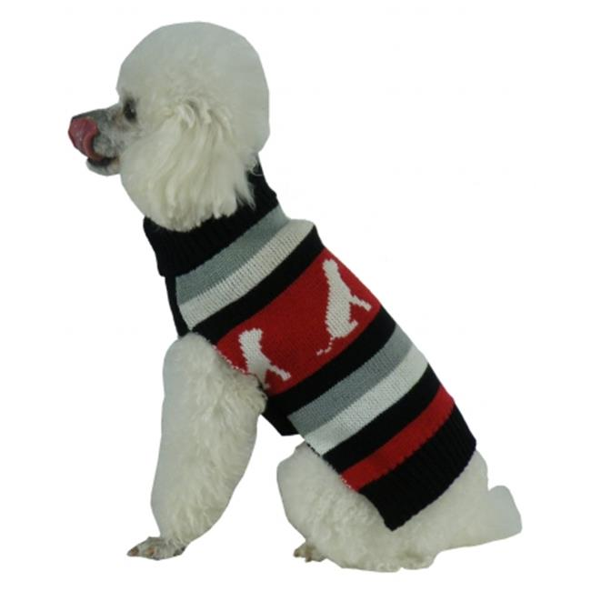 Dog Patterned Stripe Fashion Ribbed Turtle Neck Pet Sweater, Small - image 1 of 1