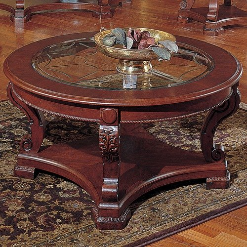 Steve Silver Furniture Canterbury Coffee Table in Multi-Step Rich Cherry