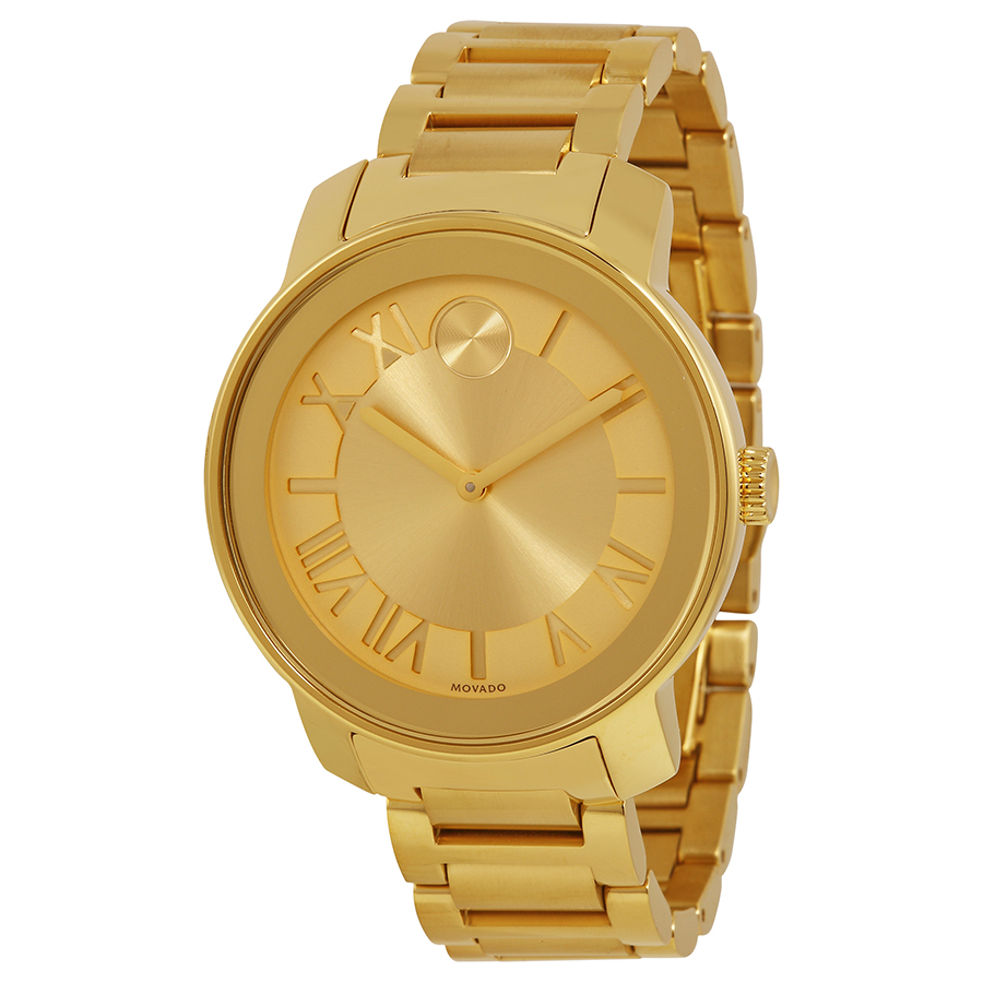 MOVADO Bold Champagne Dial Yellow Gold Ion-plated Unisex Watch