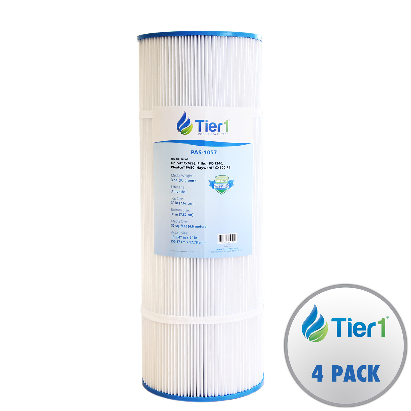 Tier1 Hayward Star Clear C500, Filbur FC-1240, Pleatco PA50, Unicel C-7656 Comparable Replacement FIlter Cartridge 4-PACK