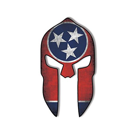 LARGE Spartan Helmet Shaped Distressed TENNESSEE Flag Sticker Decal (gun molon labe tn) Size: 6 x 10 inch