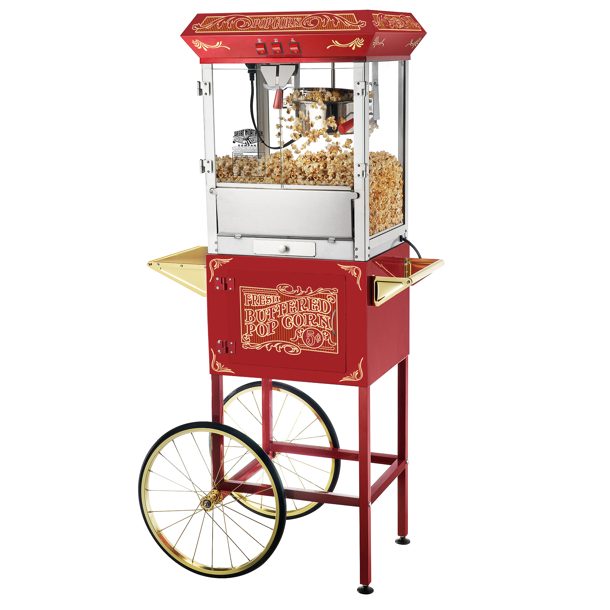 Great Northern Popcorn Red Old Time Popcorn Popper Machine with Cart, 8 Oz