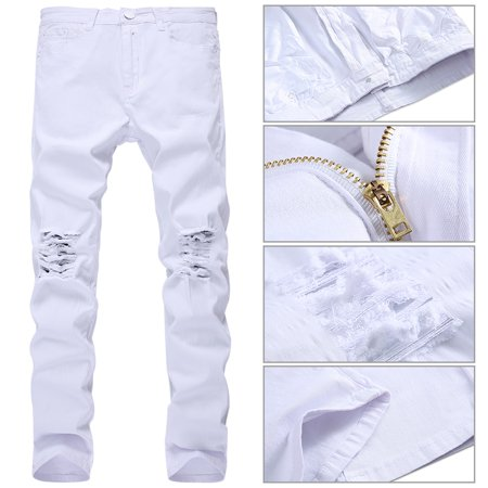- Men Stylish Ripped Jeans Pants Biker Classic Skinny Slim Straight Denim Trousers