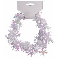 Holiday Wire Pearly Christmas Decorative Snowflakes 9' Garland, White