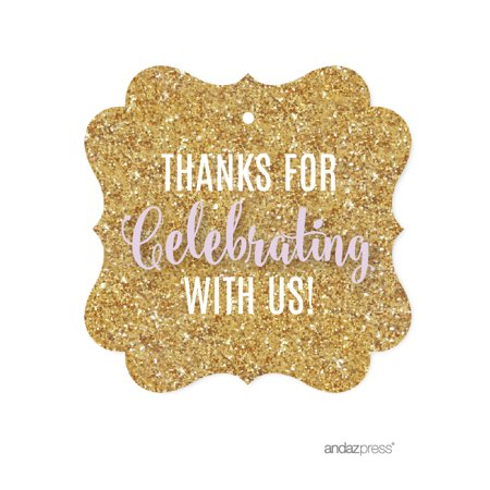 Signature Lavender, White, Gold Glittering Party, Fancy Frame Gift Tags, Thanks for Celebrating With Us!, 24-Pack (Fancy Party)