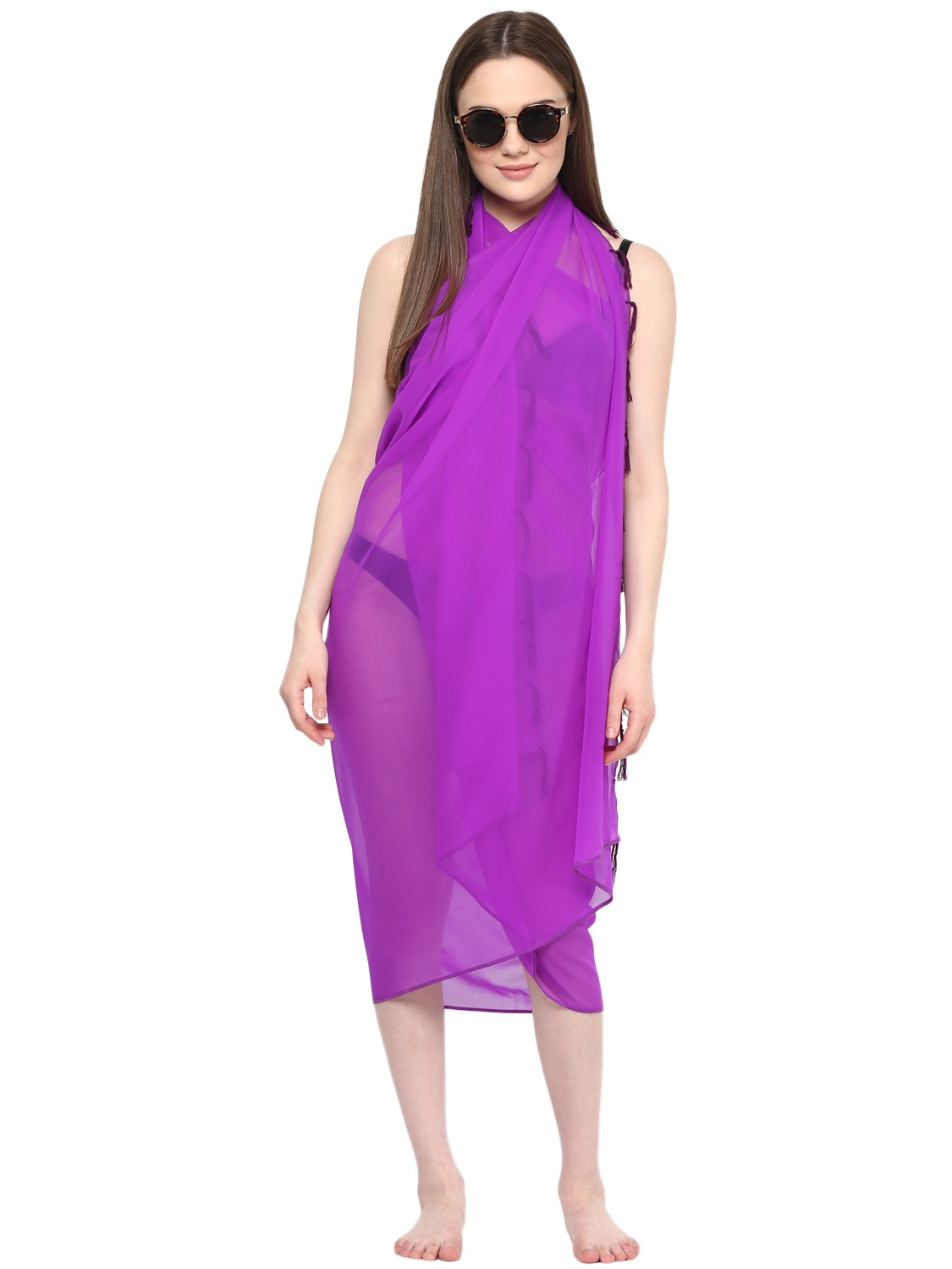 Sarong Women Solid Plain Beach Swimsuit Wrap One Size Sheer Cover Up Purple