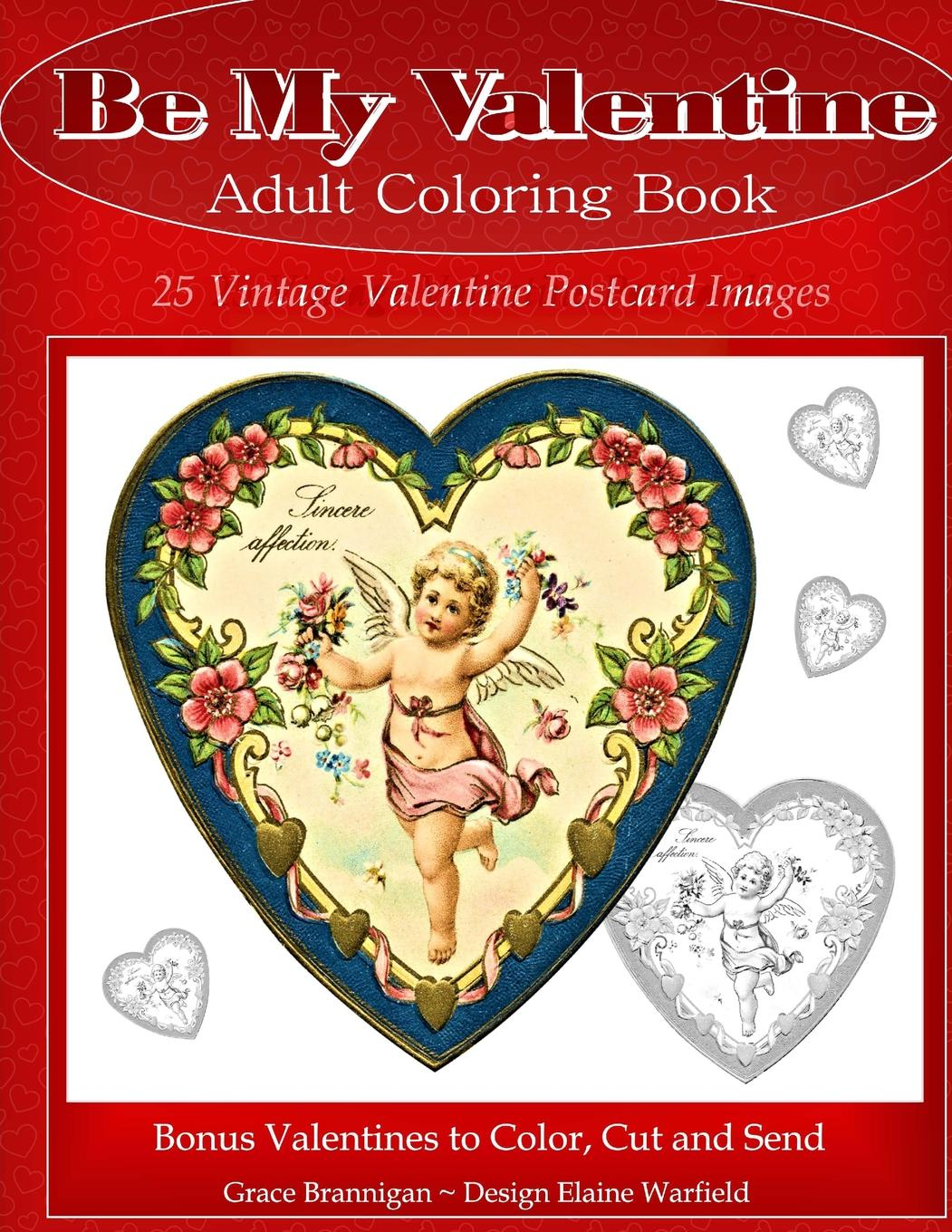 Be My Valentine Adult Coloring Book: 25 Vintage Valentine Postcards ...