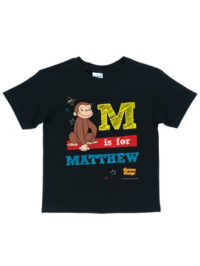 Personalized Curious George Chalkboard Toddler Boy Black T-Shirt