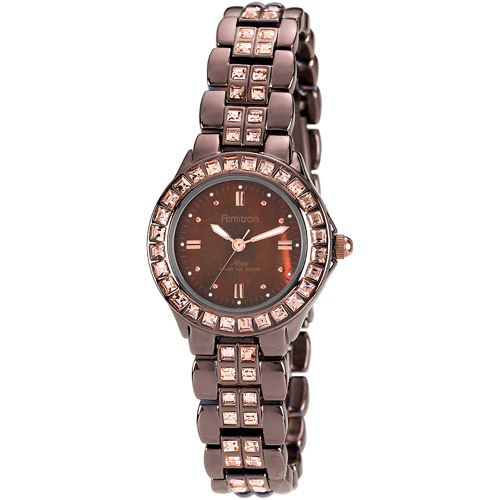 Armitron Women's NOW Brown IP-Plated Dress Watch, Crystal Embedded Two-Tone Bracelet