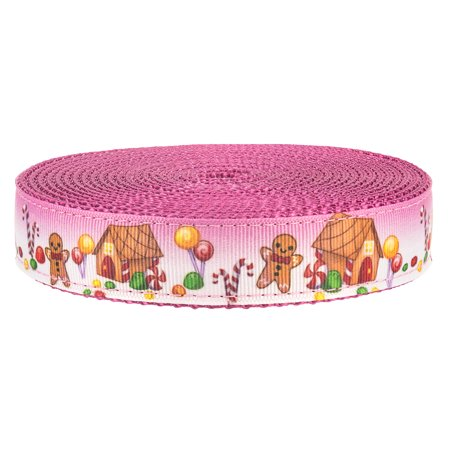 Country Brook Design® 3/4 Inch Gingerbread Land on Rose Nylon Webbing Closeout, 10 Yards