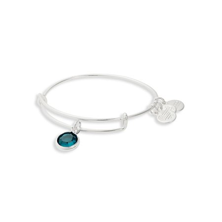 May Birthstone Charm Bangle Sterling Silver Emerald Bracelet