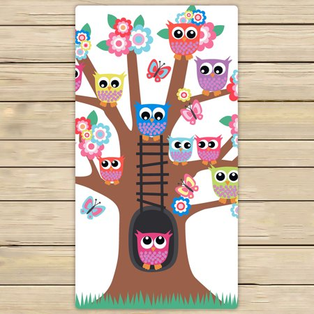 YKCG Night Owls on Tree Hand Towel Beach Towels Bath Shower Towel Bath Wrap For Home Outdoor Travel Use 30x56 inches ()