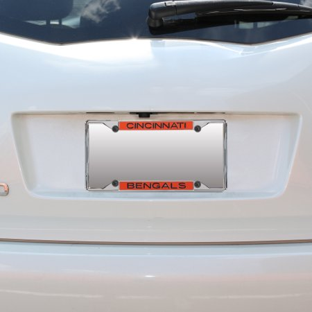 Cincinnati Bengals Mirror With Color Letters Top/Bottom License Plate Frame - No Size