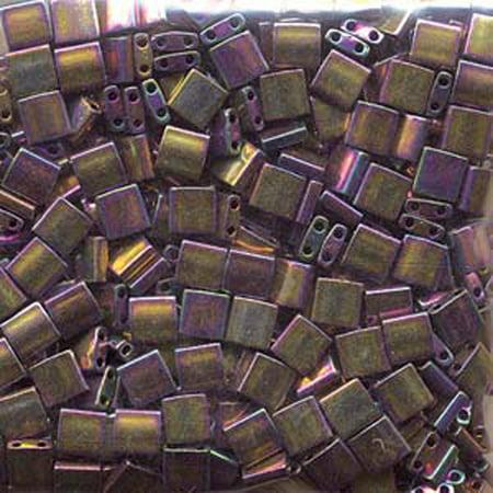 Purple Gold Iris Miyuki Tila, Loose Beads, 7.2gm 2 Hole, Loose Seed Beads, 5x5mm](Purple And Gold Beads)