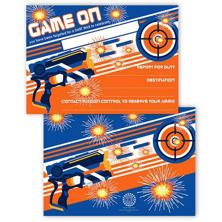 Dart Gun Invitations - 20 Invitations + 20 Envelopes - DOUBLE SIDED - Dart War Party Supplies - Dart Gun Party Supplies - Dart War Invitations - Star Wars Invitation