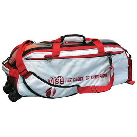 Vise Clear Top 3 Ball Roller Bowling Bag- White/Red ()